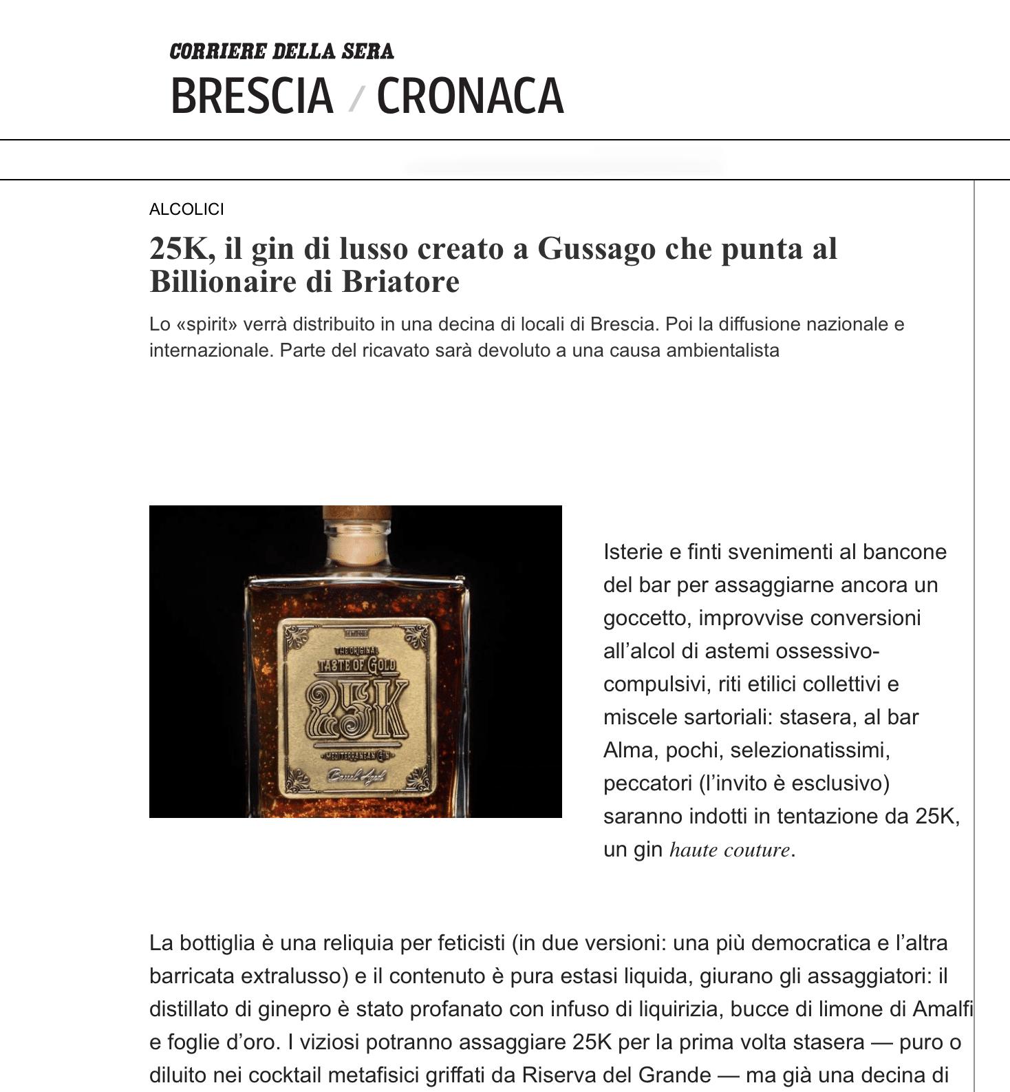 25K, the luxury gin born in Brescia that aims at Briatore's Billionaire 25k, il gin di lusso nato a brescia che punta al billionaire di briatore