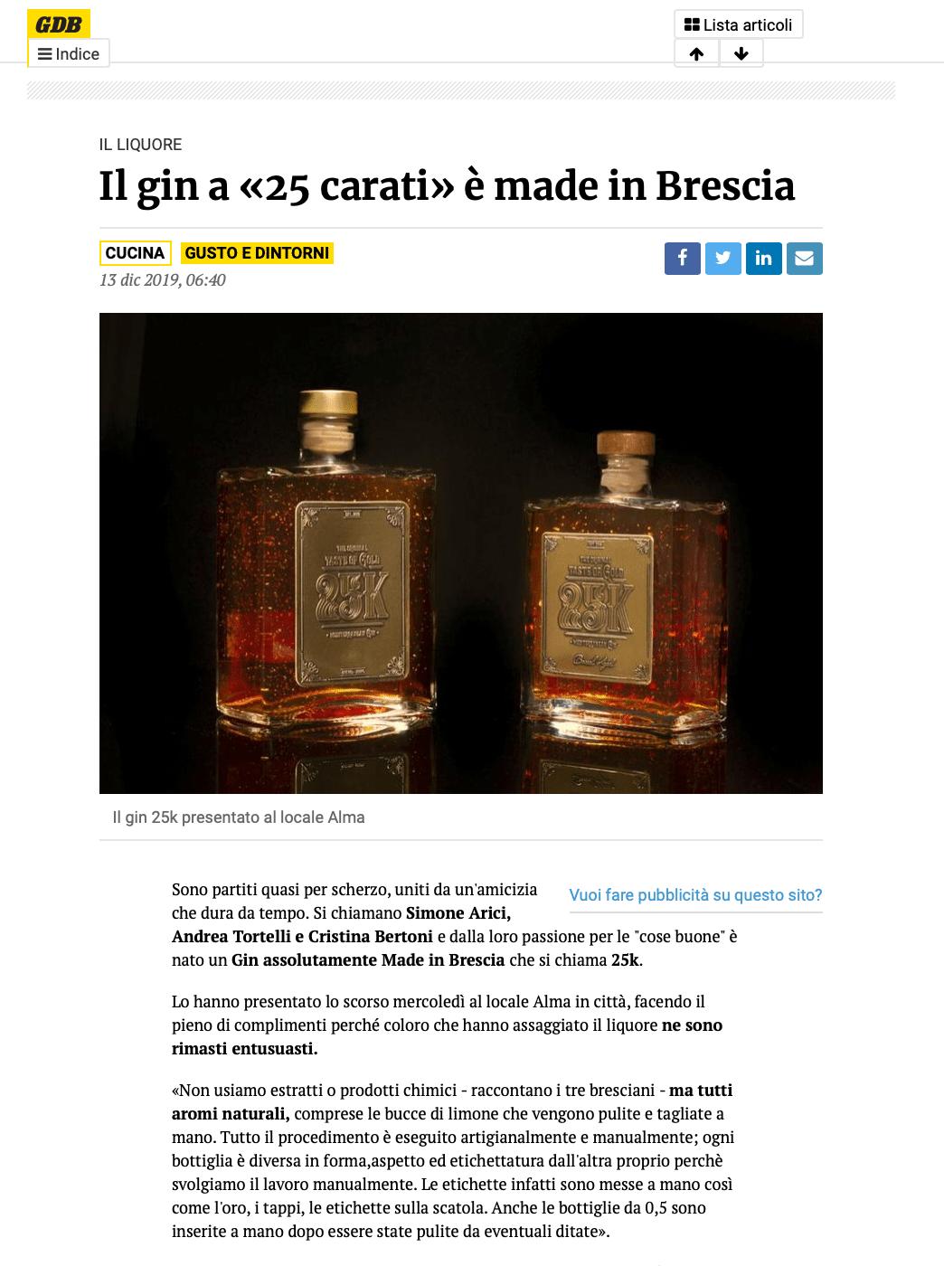 "The Gin  ""25 carat"" is made in Brescia gin"