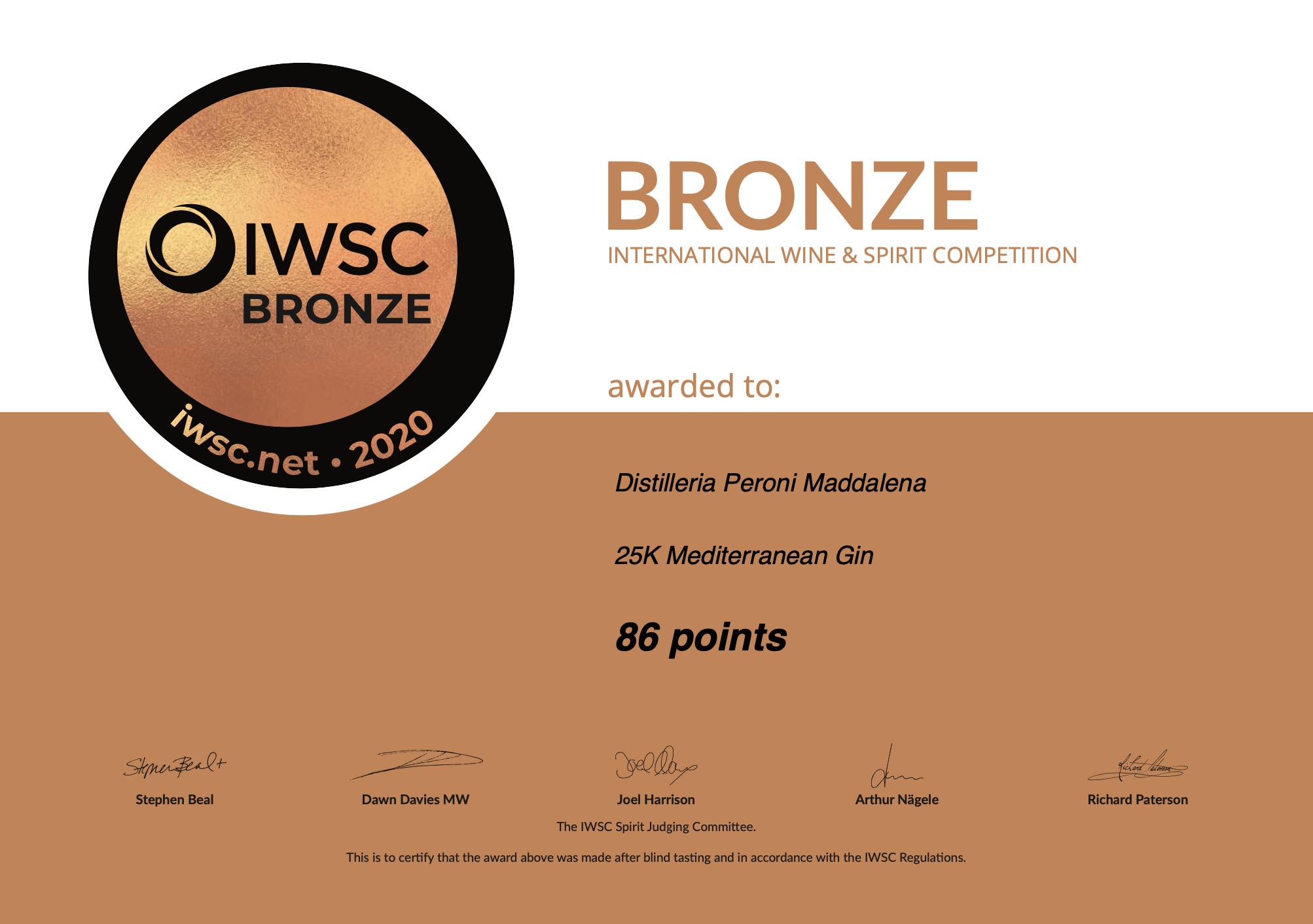IWSC – Bronze Medal for our 25K Mediterranean Gin